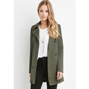 Forever 21 olive double breasted trench coat